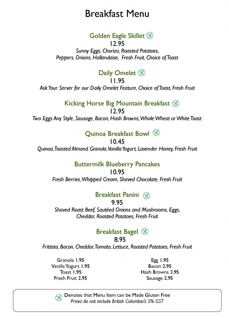 GEG Breakfast Menu 2015