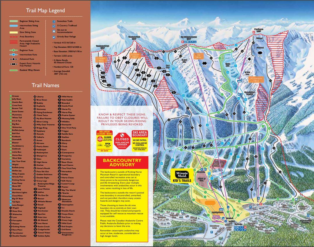 Kicking Horse Map Resort Guide   Kicking Horse Mountain Resort